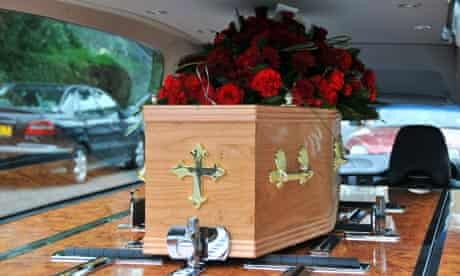 A British style coffin in a hearse