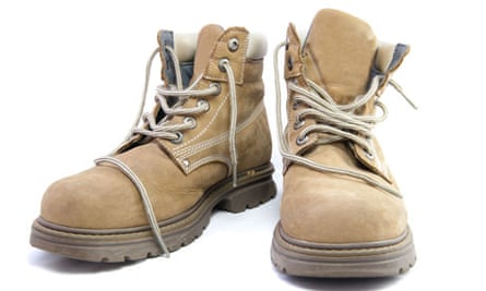 A pair of light brown work boots