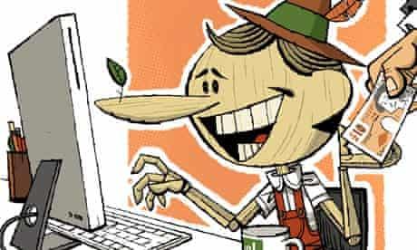 Illustration for fake website testimonials