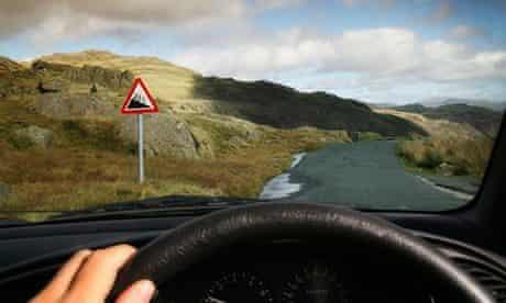 Driving down a steep road
