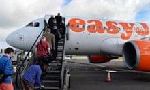 EasyJet passengers boarding a plane
