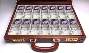 A briefcase full of £20 notes