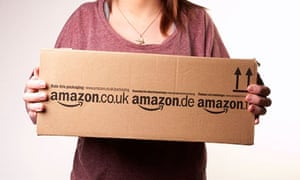 Girl holding Amazon parcel. Image shot 2010. Exact date unknown.