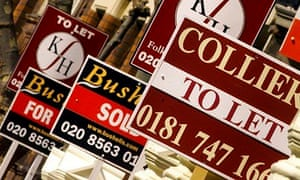 Estate agents' for sale, sold and to let signs