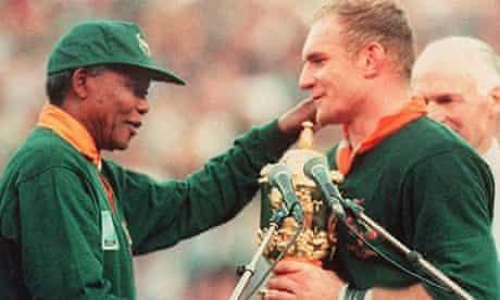 Springbok captain Francois Pienaar and Nelson Mandla