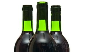 Corked wine bottles