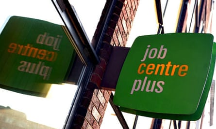 Close up of sign outside UK jobcentre