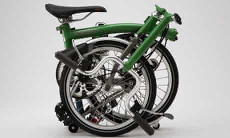A Brompton bicycle folded up
