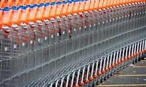 A stack of supermarket trolleys