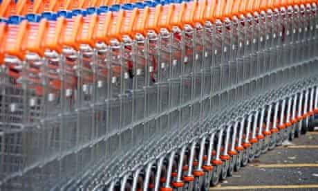 A stack of supermarket trolleys