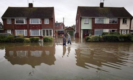 Houses in flood waters in Tewkesbury