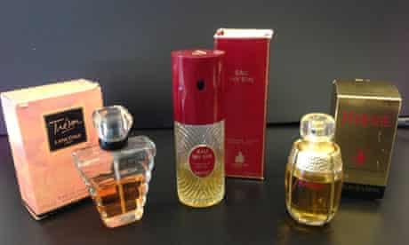 Bottles of vintage perfume