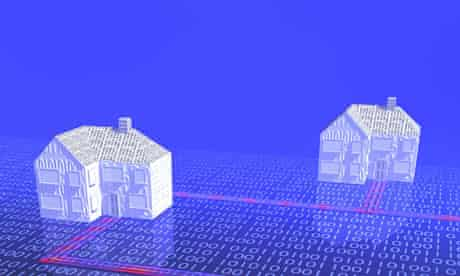 Digital houses on a binary code surface with broadband connection