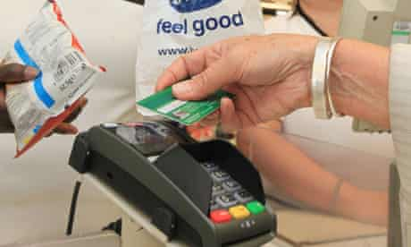 Using a contactless credit card in a branch of Boots