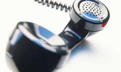 A telephone receiver close-up