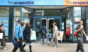 Customers going into a Co-operative Bank branch