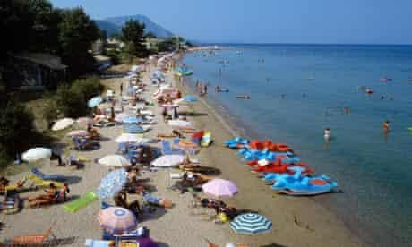 View of a popular beach in Corfu