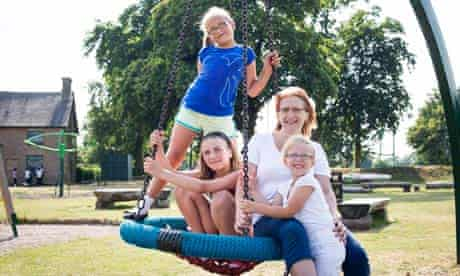 Sharron Barton with daughters Louisa, 11, Sammy, 9, and Natasha, 6, near their home in Nottingham
