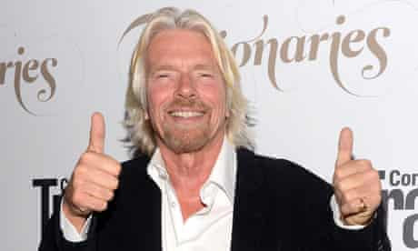 Richard Branson with his thumbs up
