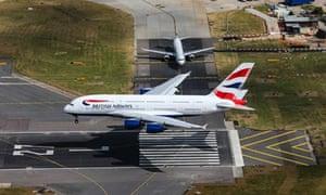 A British Airways plane landing