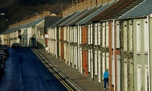 Terraced houses in a village, Penrhiwceiber, in Rhondda Cynon Taff, Wales