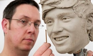 Stephen Mansfield, a waxworker at Madame Tussauds, working on the head of One Direction's Zayn Malik