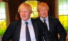 Boris Johnson with his waxwork at Madame Tussauds