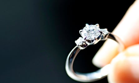An engagement ring is displayed at a jewellery store