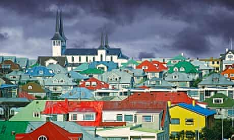 Colourful houses and a church in Reykjavik, Iceland