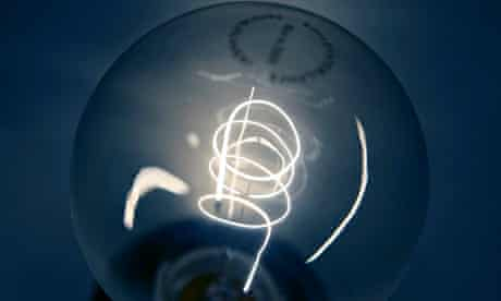 A traditional light bulb with carbon filament is displayed at a do-it-yourself store in Dortmund