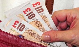 Ten pound notes in wallet