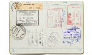 Passport with stamps from various countries