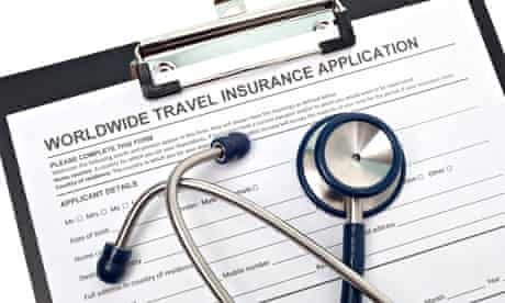 International travel medical insurance application with stethoscope