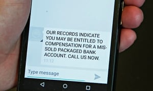 Text on a mobile phone urging people to make a claim … PPI style.