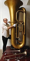 Pascal Wyse and 6ft tuba at Horniman Museum