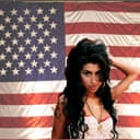 Amy Winehouse in front of an American flag