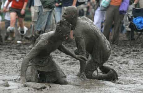 Glastonbury mud wrestling