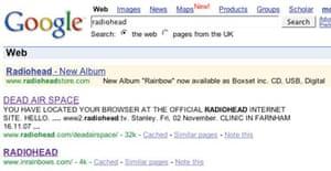 Screen grab of Radiohead Google ad