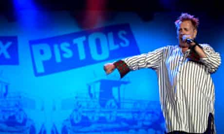 John Lydon of the Sex Pistols performs at the Isle of Wight festival 2008