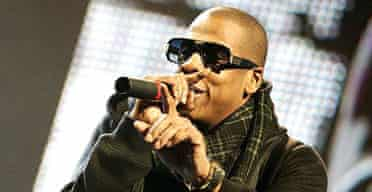 Glastonbury 2008: Jay-Z performing on the main stage