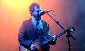 Radiohead's Thom Yorke performing at Glastonbury 2003