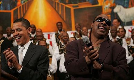 Barack Obama and Stevie Wonder