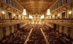 The Vienna Mozart Orchestra in the Golden Hall at the Musikverein in Vienna, Austria