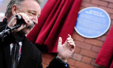 Peter Hook at the unveiling of one of Rochdale's blue plaques