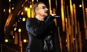 Bono of U2 at the 51st Grammy awards