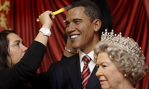 President Barack Obama and Queen Elizabeth as waxworks at Madame Tussauds