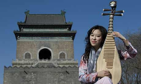 Pipa player Zhao Cong pictured near Beijing's Drum Tower