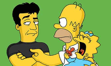 Homer Simpson attacks Simon Cowell