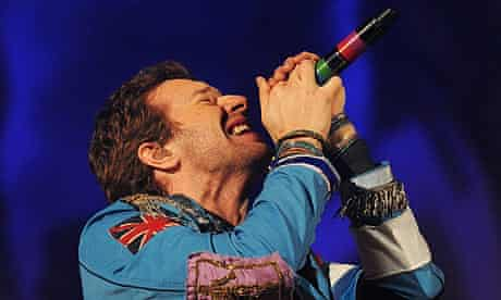Chris Martin of Coldplay performs at the Brits 2009