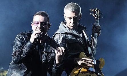 U2's Bono and Adam Clayton at Wembley stadium